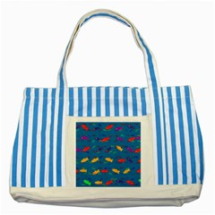 Fish Background Pattern Texture Rainbow Striped Blue Tote Bag