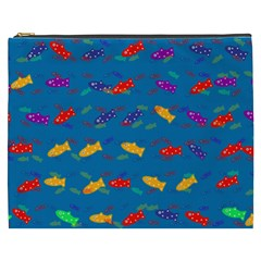 Fish Background Pattern Texture Rainbow Cosmetic Bag (xxxl)