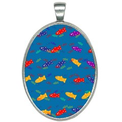 Fish Background Pattern Texture Rainbow Oval Necklace by AnjaniArt