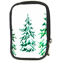 Christmas Pine Trees Snow Xmas Compact Camera Leather Case by AnjaniArt