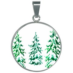 Christmas Pine Trees Snow Xmas 30mm Round Necklace by AnjaniArt