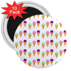 Icecream Background Dessert Summer 3  Magnets (10 Pack)  by AnjaniArt