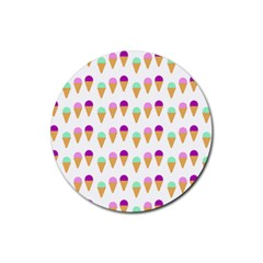 Icecream Background Dessert Summer Rubber Round Coaster (4 Pack)  by AnjaniArt