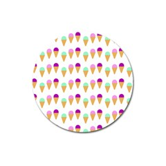 Icecream Background Dessert Summer Magnet 3  (round)