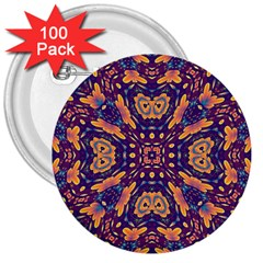 Kaleidoscope Background Design 3  Buttons (100 Pack)