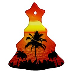 Tropical Summer Sunset Beach Christmas Tree Ornament (two Sides)