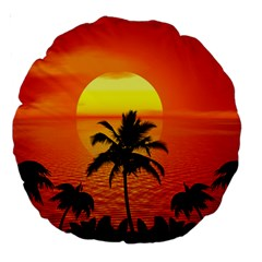 Tropical Summer Sunset Beach Large 18  Premium Round Cushions