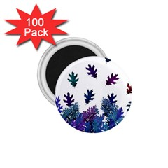 Blue Purple Leaves 1 75  Magnets (100 Pack)  by LoolyElzayat