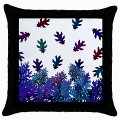 Blue Purple Leaves Throw Pillow Case (black)
