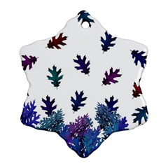 Blue Purple Leaves Snowflake Ornament (two Sides) by LoolyElzayat