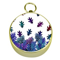 Blue Purple Leaves Gold Compasses by LoolyElzayat
