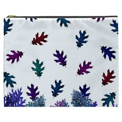 Blue Purple Leaves Cosmetic Bag (xxxl)