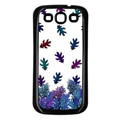 Blue Purple Leaves Samsung Galaxy S3 Back Case (black)