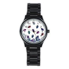 Blue Purple Leaves Stainless Steel Round Watch