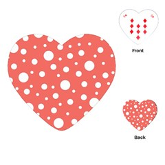 Polka Dot On Living Coral Playing Cards (heart)