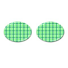 Sweet Pea Green Gingham Cufflinks (oval) by WensdaiAddamns