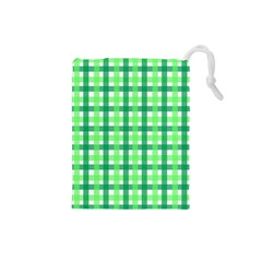 Sweet Pea Green Gingham Drawstring Pouch (small) by WensdaiAmbrose