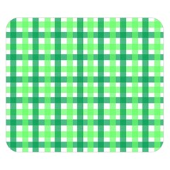 Sweet Pea Green Gingham Double Sided Flano Blanket (small)  by WensdaiAmbrose