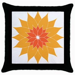 Sunflower Flower Orange Abstract Throw Pillow Case (black) by AnjaniArt