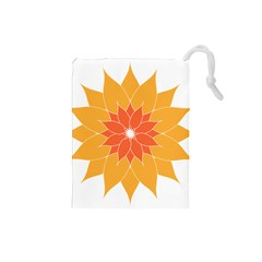 Sunflower Flower Orange Abstract Drawstring Pouch (small) by AnjaniArt