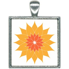 Sunflower Flower Orange Abstract Square Necklace