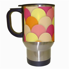 Scallop Fish Scales Scalloped Rainbow Travel Mugs (white) by AnjaniArt
