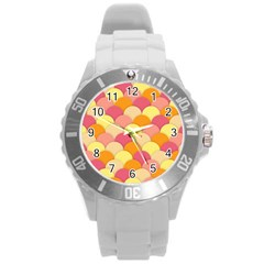 Scallop Fish Scales Scalloped Rainbow Round Plastic Sport Watch (l) by AnjaniArt