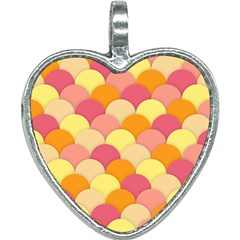 Scallop Fish Scales Scalloped Rainbow Heart Necklace by AnjaniArt