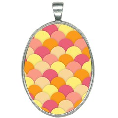 Scallop Fish Scales Scalloped Rainbow Oval Necklace by AnjaniArt