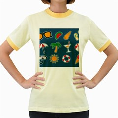 Summer Stickers Motives Cute Women s Fitted Ringer T-shirt by AnjaniArt