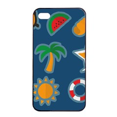 Summer Stickers Motives Cute Apple Iphone 4/4s Seamless Case (black) by AnjaniArt