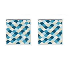 Scallops Background Wallpaper Blue Cufflinks (square)