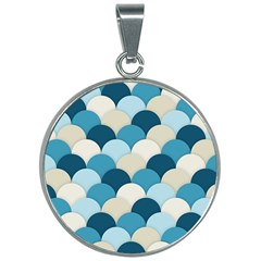 Scallops Background Wallpaper Blue 30mm Round Necklace by Jojostore