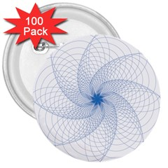 Spirograph Pattern Geometric 3  Buttons (100 Pack)