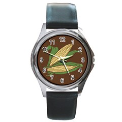 Sweet Corn Maize Vegetable Round Metal Watch