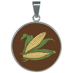 Sweet Corn Maize Vegetable 30mm Round Necklace by Alisyart