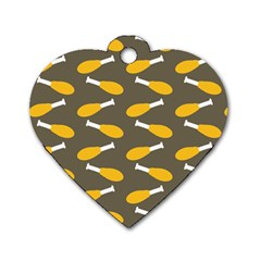 Turkey Drumstick Dog Tag Heart (one Side)