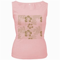 Hibiscus Green Pattern Plant Women s Pink Tank Top