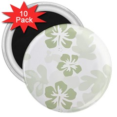 Hibiscus Green Pattern Plant 3  Magnets (10 Pack)