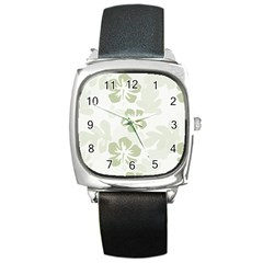 Hibiscus Green Pattern Plant Square Metal Watch by Alisyart