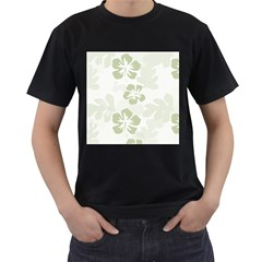 Hibiscus Green Pattern Plant Men s T Shirt (black) (two Sided)
