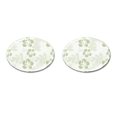 Hibiscus Green Pattern Plant Cufflinks (oval)