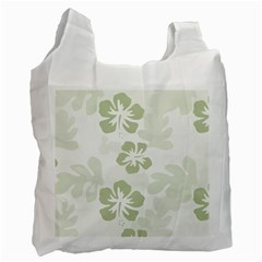 Hibiscus Green Pattern Plant Recycle Bag (two Side)