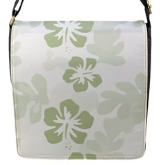 Hibiscus Green Pattern Plant Flap Closure Messenger Bag (s)