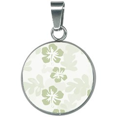 Hibiscus Green Pattern Plant 20mm Round Necklace