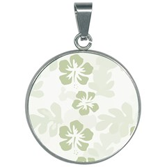 Hibiscus Green Pattern Plant 30mm Round Necklace by Alisyart