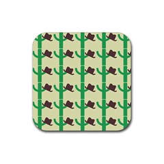 Cowboy Hat Cactus Rubber Coaster (square)