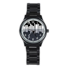 Cityscape City Waterfront Stainless Steel Round Watch