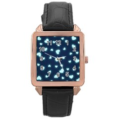 Hearts Background Wallpaper Digital Rose Gold Leather Watch