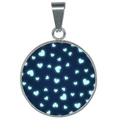 Hearts Background Wallpaper Digital 25mm Round Necklace